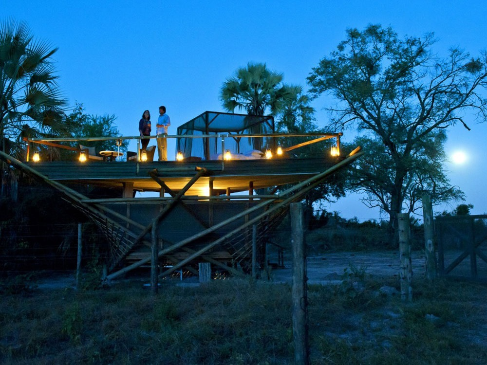 Abu Camp, Botswana star bed african romantic pictures