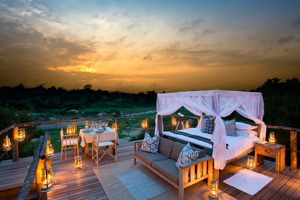 Tinyeleti Treehouse, Lion Sands, Sudáfrica star bed african romantic pictures